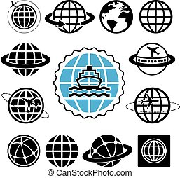 船, アイコン, セット, 地球