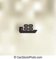 船, アイコン, 背景, ぼんやりさせられた