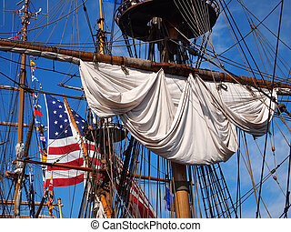 船, アメリカの旗, 索具