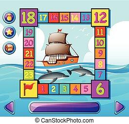 船, イルカ, テンプレート, 海, boardgame
