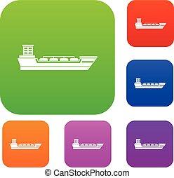 船, オイル, セット, タンカー, コレクション