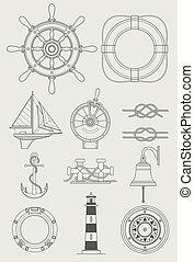 船, セット, 海, アイコン
