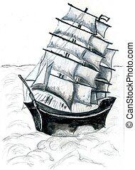 船, フリゲート艦, スケッチ