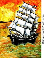船, フリゲート艦, 日没