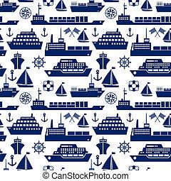船, ボート, 背景, 海洋, seamless