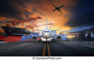 船, ローディング, 容器, 中に, 輸入, -, エクスポート, 桟橋, そして, 空輸貨物, 飛行機, アプローチ,...