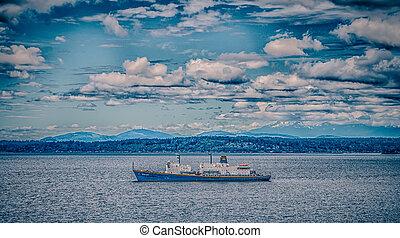船, 中に, puget 音, 中に, ワシントン州, 近くに, シアトル