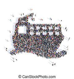 船, 人々, 3d