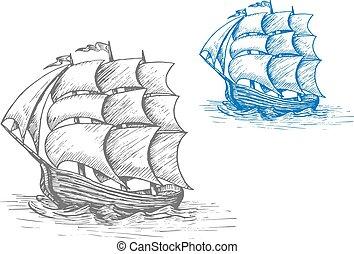 船, 古い, 嵐である, 航海, 波