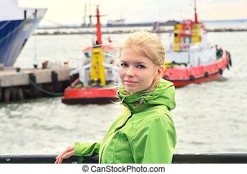 船, 女, 若い, 旅行