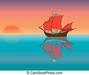 船, 日没, 海洋