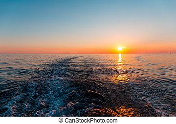 船, 日没, 海, 跡