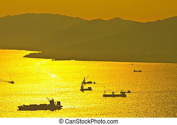 船, 日没, 海, bulk-carrier