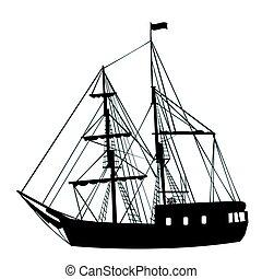 船, 白, シルエット, 背景, 航海