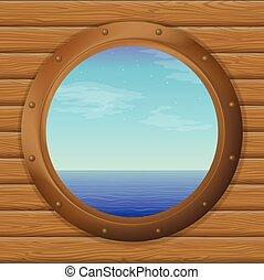 船, 窓, 海