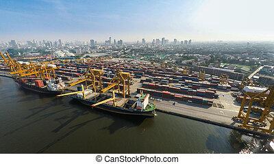 船, 貨物, イメージ, 海港, 航空写真
