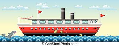 船, fish, 背景, seamless, カラフルである