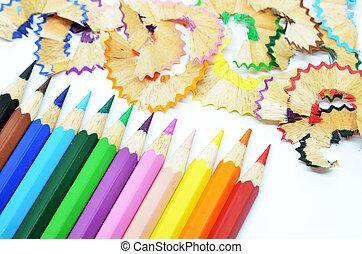 色の鉛筆, 削られる, 木製のshavings