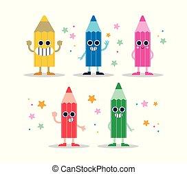 色の鉛筆, 楽しみ, 特徴, セット, ∥ために∥, 子供, ∥あるいは∥, 学校