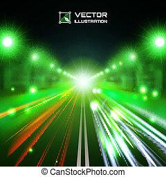 色合い, 緑, 道, 夜