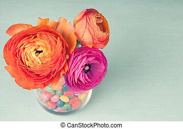色彩丰富的桔子, 瓶, 蓝的背景, ranunculus, 装饰, 葡萄收获期, 粉红色, 甜食