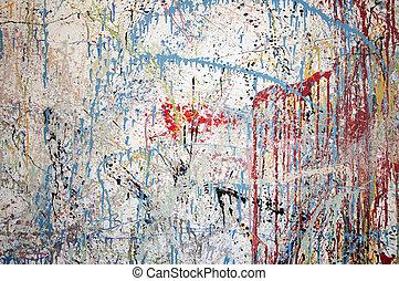 色彩丰富, 墙壁, 摘要, 现代, 滴下, 白色, 绘画