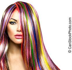 色彩丰富, 头发, 同时,, makeup., 美丽, 方式模型, 女孩