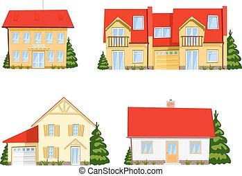 色彩丰富, 房子, 背景。, 矢量, 白色, 卡通漫画