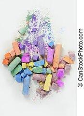 色彩丰富, 混乱, 结束, 粉笔, 打破, 颜色, 白色