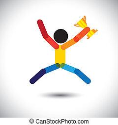 色彩丰富, 矢量, 图标, 在中, a, 人 , 庆祝, winning.