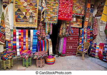 色彩丰富, 织品, 在上, the, agadir, 市场, 在中, 摩洛哥