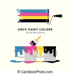 色彩丰富, 隔离, 涂描, 矢量, 设计, 能, 滚筒