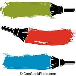 色彩丰富, grunge, brushstrokes, 丙烯酸, 样品, 建立, 带, paintbrush., 墙壁, 绘画, 矢量, 概念性, illustration.