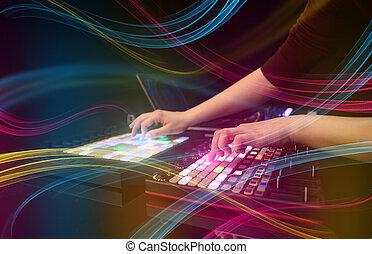 色彩丰富, midi, 音乐, 控制器, vibe, 概念, 混合