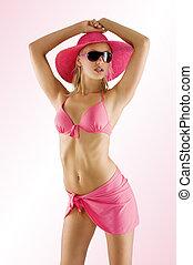 色情, 女孩, 在, 粉紅色, 比基尼, 由于, 太陽鏡