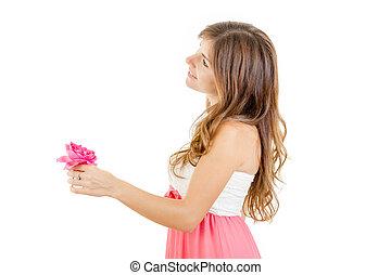 色情, 女孩, 藏品 花, 由于, 浪漫, 看
