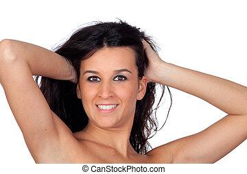 色情, 黑發淺黑膚色女子, 女孩, 顯示, 她, 肩