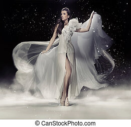 色情, 黑發淺黑膚色女子, 婦女跳舞, 在, 白色的服裝