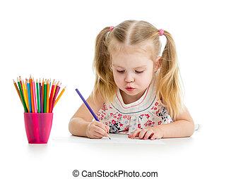色, かわいい, 子供, 図画, 鉛筆