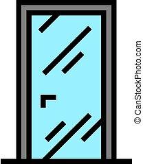 色, アイコン, ベクトル, イラスト, ガラス ドア