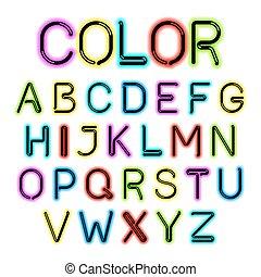 色, アルファベット, 白熱