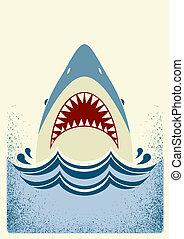 色, イラスト, ベクトル, jaws., サメ