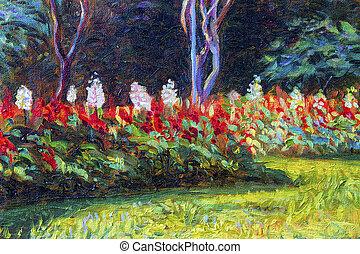 色, オリジナル, 絵, 風景, flowers., キャンバス, salvia, オイル