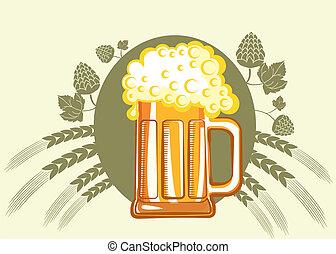 色, ガラス, シンボル, イラスト, beer., ベクトル, デザイン