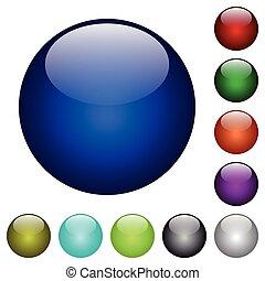 色, ガラス, ブランク, ボタン
