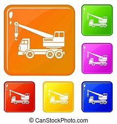 色, クレーン, セット, トラック, アイコン