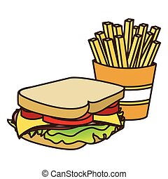 色, サンドイッチ, フライド・ポテト, フランス語, 数字