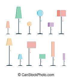 色, シルエット, セット, ランプ