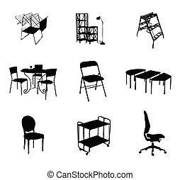 色, シルエット, セット, 黒, 家具