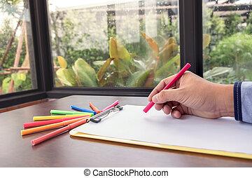 色, スタイル, 概念, 仕事, 木製である, チャート, 机, 創造性, 考え, デザイナー, 仕事場, 電話, グラフィックス, グラフィック, 創造的, タブレット, 痛みなさい